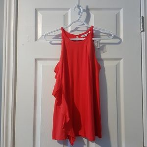 M Reitmans ruffle coral red sleeveless blouse